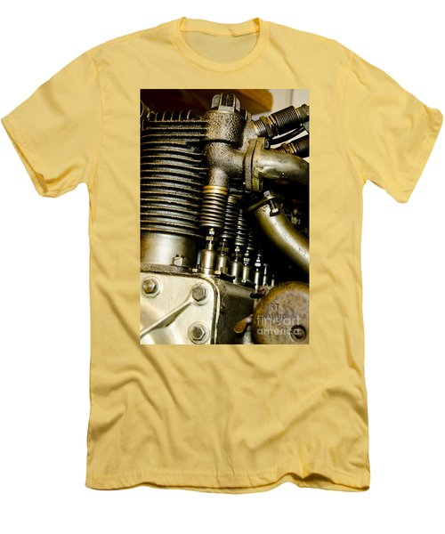 Men's T-Shirt (Slim Fit) featuring the photograph Heath-henderson Motorcycle Engine by Wilma  Birdwell