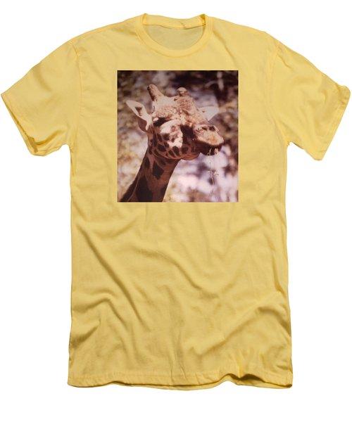 Men's T-Shirt (Slim Fit) featuring the photograph Velvety Giraffe by Belinda Lee
