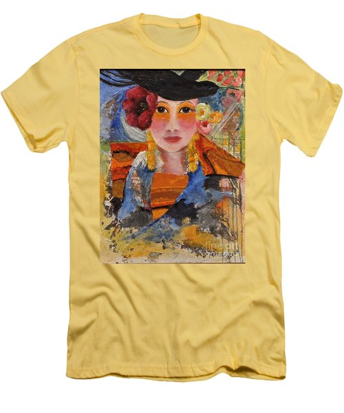 Her Red Flower Men's T-Shirt (Slim Fit) by Glory Wood