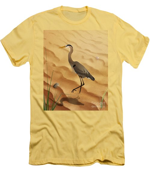 Heron On Golden Sands Men's T-Shirt (Athletic Fit)