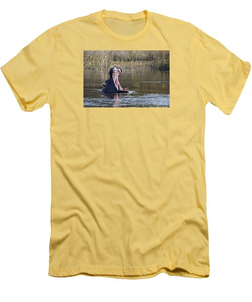 Men's T-Shirt (Slim Fit) featuring the photograph Hippo Yawning by Liz Leyden