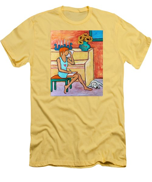 Men's T-Shirt (Athletic Fit) featuring the painting Home Where My Heart Is Iv by Xueling Zou