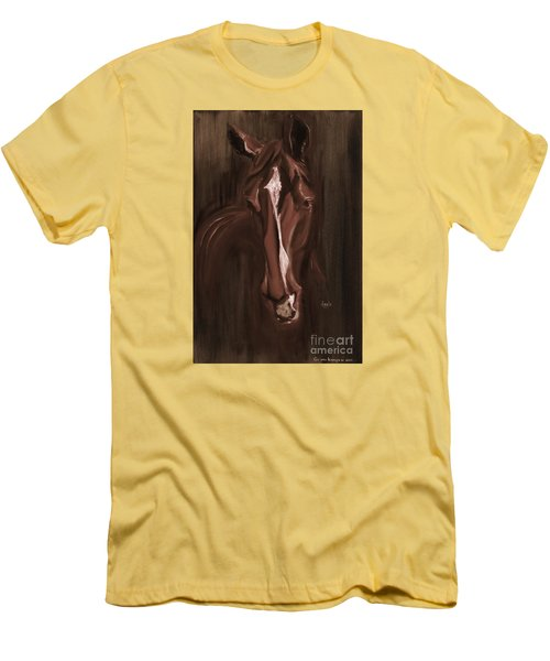 Horse Apple Warm Brown Men's T-Shirt (Athletic Fit)