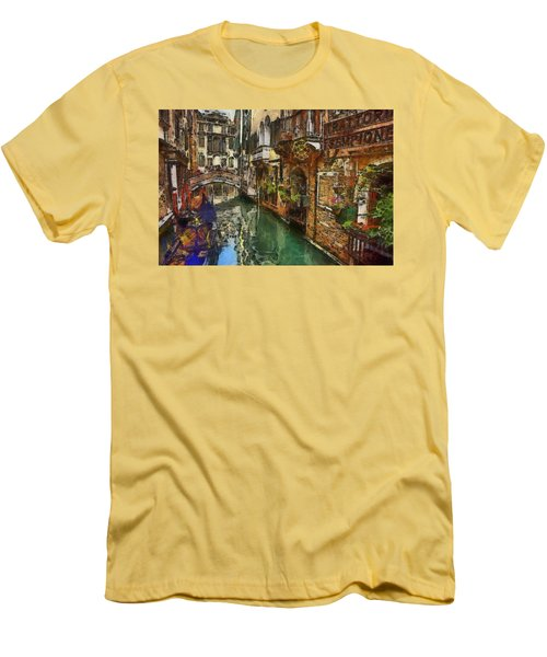 Men's T-Shirt (Slim Fit) featuring the painting Houses In Venice Italy by Georgi Dimitrov