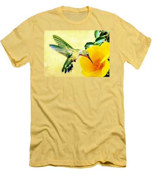 Hummingbird And California Poppy Men's T-Shirt (Slim Fit) by Bob and Nadine Johnston