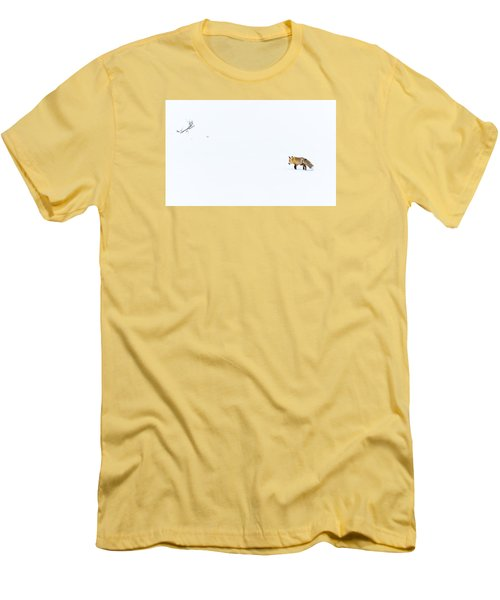 Men's T-Shirt (Slim Fit) featuring the photograph Hunting In White by Yeates Photography