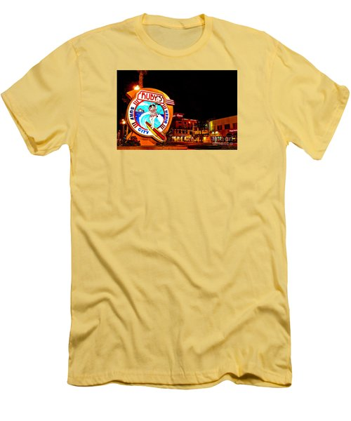 Men's T-Shirt (Slim Fit) featuring the photograph Huntington Beach Downtown Nightside 2 by Jim Carrell