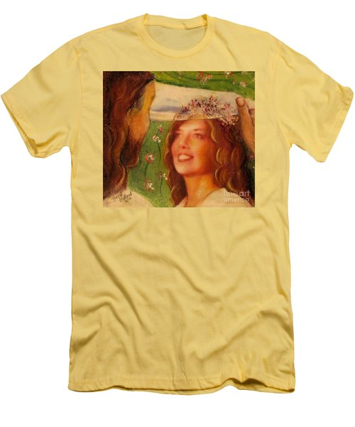 Men's T-Shirt (Slim Fit) featuring the painting I Will Lift The Veil by Hazel Holland