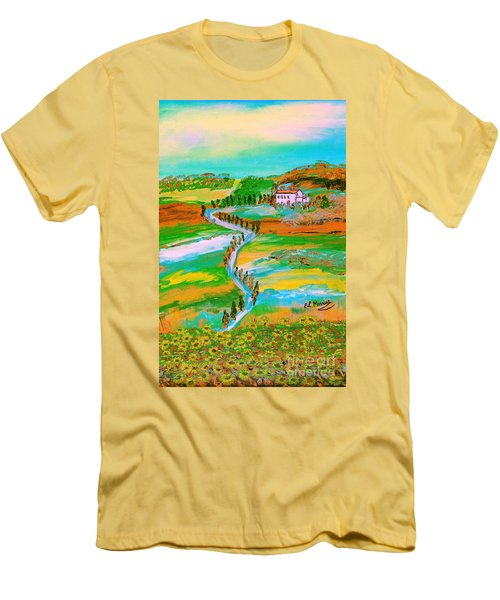 Men's T-Shirt (Slim Fit) featuring the painting  Tuscan Countryside by Loredana Messina