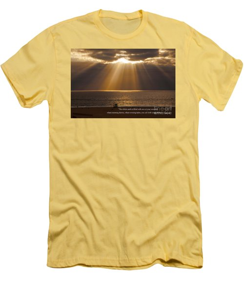 Inspirational Sun Rays Over Calm Ocean Clouds Bible Verse Photograph Men's T-Shirt (Athletic Fit)