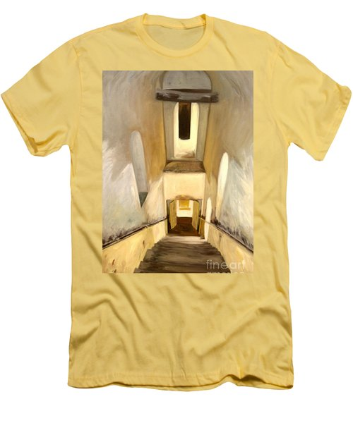 Men's T-Shirt (Slim Fit) featuring the painting Jantar Mantar Staircase by Mukta Gupta
