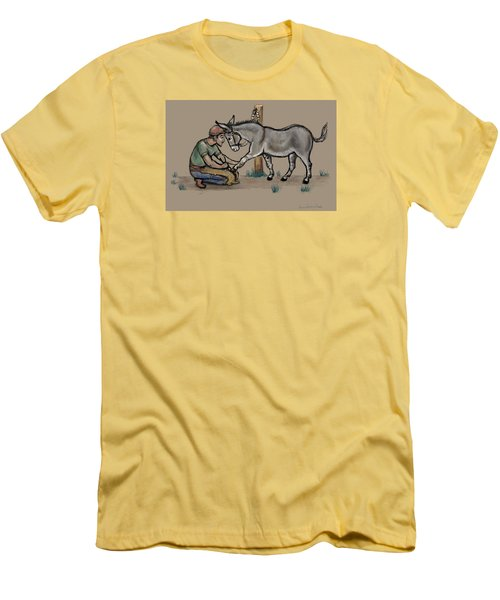 Jasper Warms Up To The Farrier Men's T-Shirt (Slim Fit) by Dawn Senior-Trask