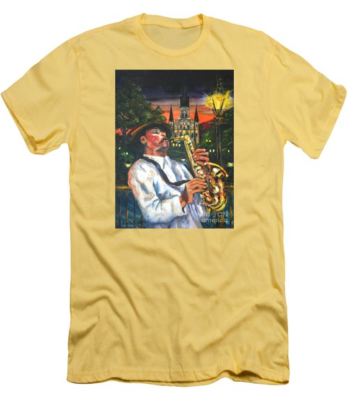 Jazz By Street Lamp Men's T-Shirt (Athletic Fit)