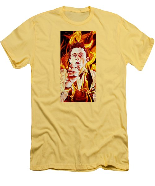 Men's T-Shirt (Slim Fit) featuring the painting Johnny Cash And It Burns by Joshua Morton