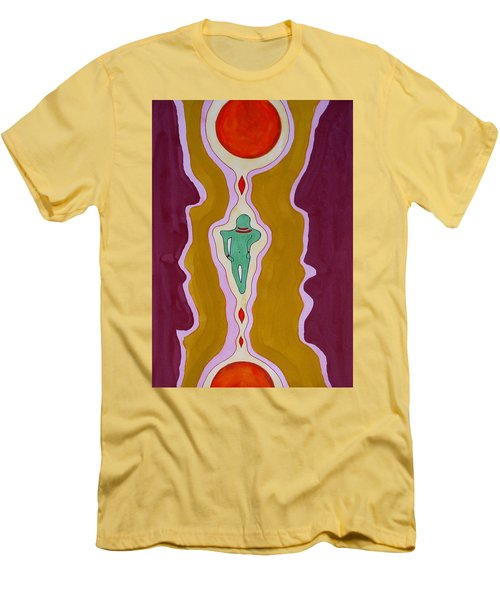 Journey Between Suns Original Painting Men's T-Shirt (Slim Fit) by Sol Luckman