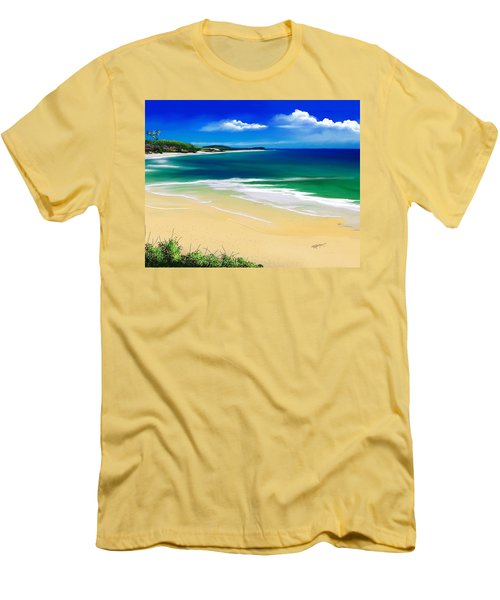 Men's T-Shirt (Slim Fit) featuring the digital art Kauai Beach Solitude by Anthony Fishburne