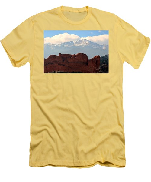 Men's T-Shirt (Slim Fit) featuring the photograph Kissing Camels Against Pikes Peak by Clarice  Lakota