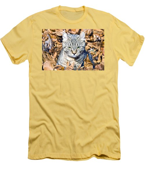 Men's T-Shirt (Slim Fit) featuring the photograph Kitten In Leaves by Susan Leggett