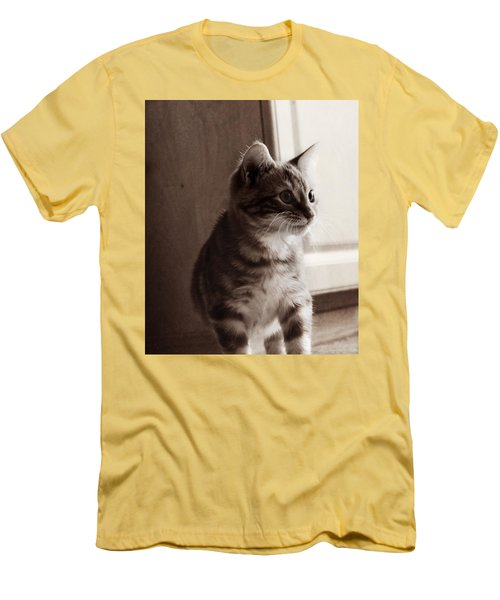 Men's T-Shirt (Slim Fit) featuring the photograph Kitten In The Light by Melanie Lankford Photography