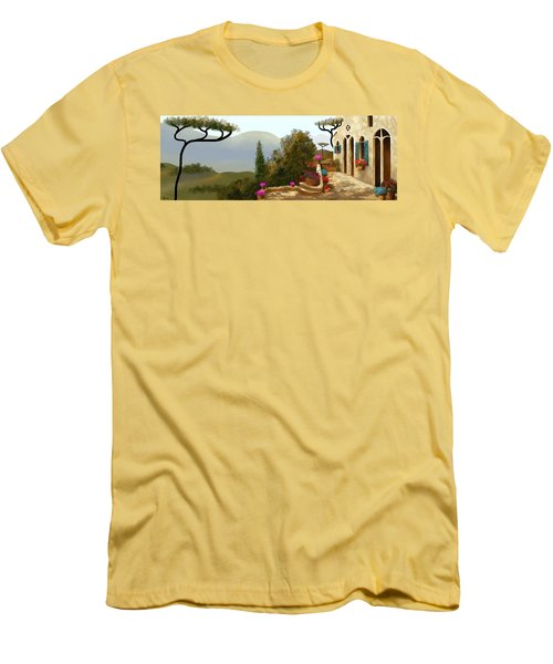 Men's T-Shirt (Slim Fit) featuring the painting La Bella Terrazza by Larry Cirigliano
