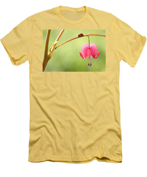 Men's T-Shirt (Slim Fit) featuring the photograph Ladybug And Bleeding Heart Flower by Peggy Collins