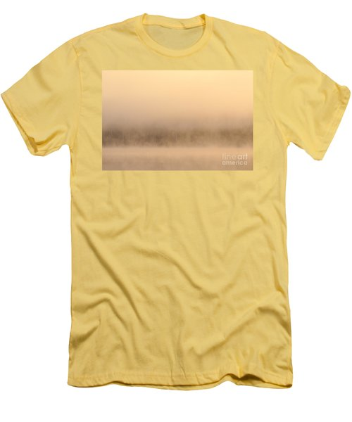 Lake Cassidy With Fog And Trees Along Shoreline Shrouded In Fog Men's T-Shirt (Athletic Fit)