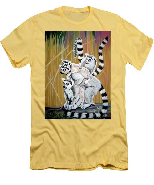 Men's T-Shirt (Slim Fit) featuring the painting Leapin Lemurs by Phyllis Kaltenbach