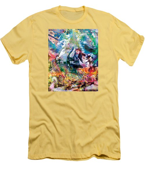 Led Zeppelin Original Painting Print  Men's T-Shirt (Slim Fit) by Ryan Rock Artist