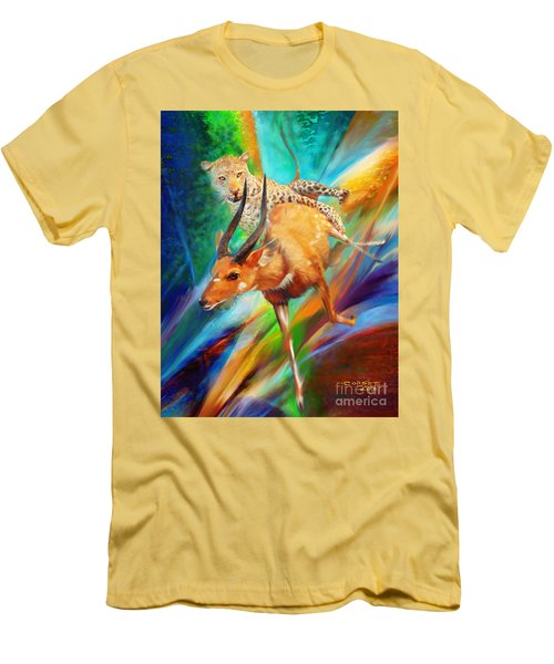 Men's T-Shirt (Slim Fit) featuring the painting Leopard Attack by Rob Corsetti