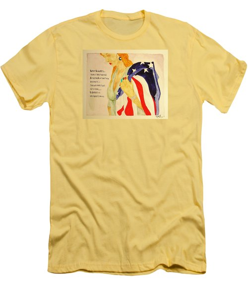Men's T-Shirt (Slim Fit) featuring the painting The Divorce Of Liberty by Rand Swift