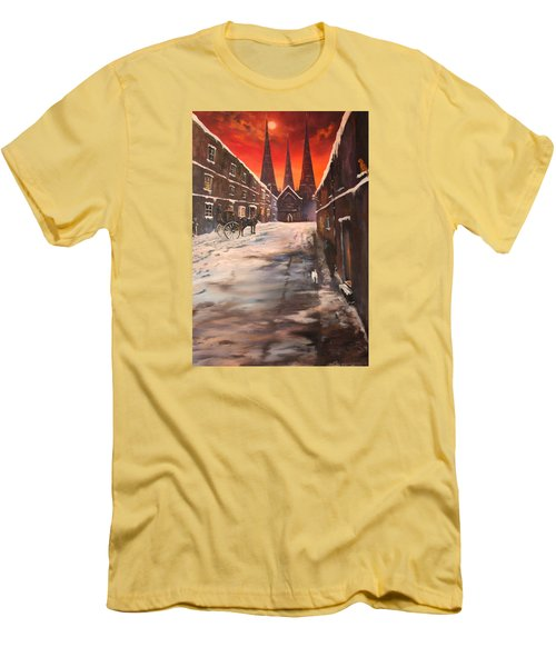 Men's T-Shirt (Slim Fit) featuring the painting Lichfield Cathedral A View From The Close by Jean Walker
