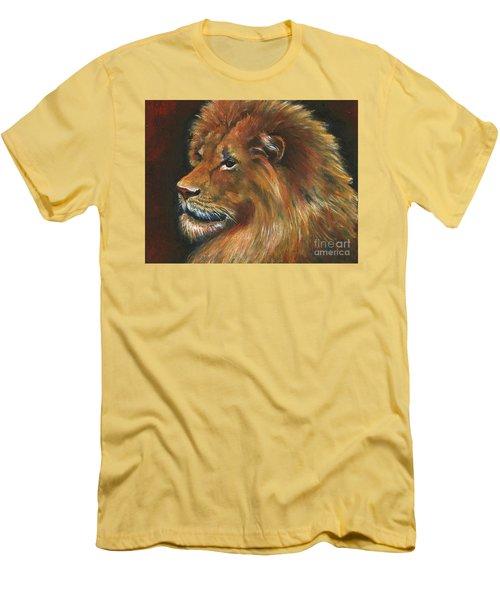 Men's T-Shirt (Slim Fit) featuring the painting Lion by Alga Washington