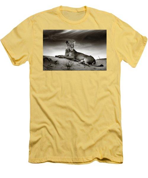 Lioness On Desert Dune Men's T-Shirt (Slim Fit) by Johan Swanepoel