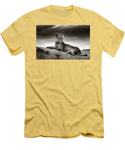 Lioness On Desert Dune Men's T-Shirt (Athletic Fit)