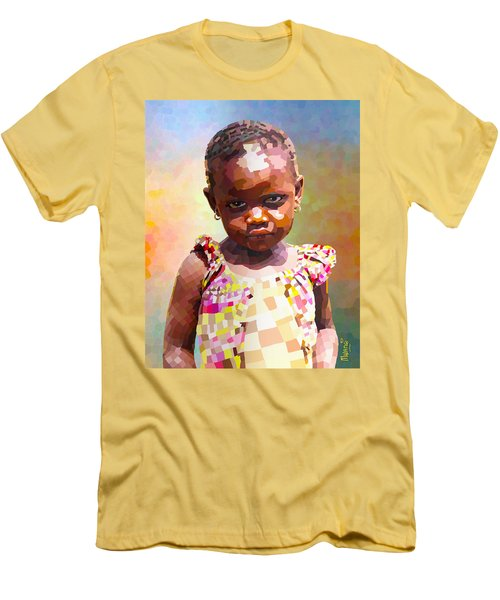 Men's T-Shirt (Slim Fit) featuring the digital art Little Cute Girl by Anthony Mwangi