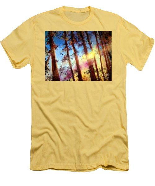 Men's T-Shirt (Slim Fit) featuring the painting Looking Through The Trees by Alison Caltrider