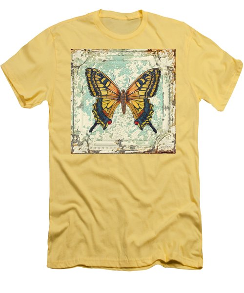 Lovely Yellow Butterfly On Tin Tile Men's T-Shirt (Slim Fit) by Jean Plout