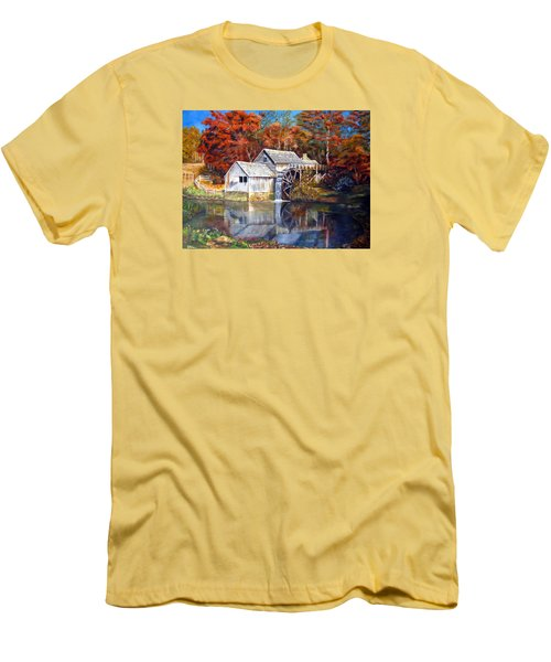Mabry Mill Blue Ridge Virginia Men's T-Shirt (Slim Fit) by LaVonne Hand