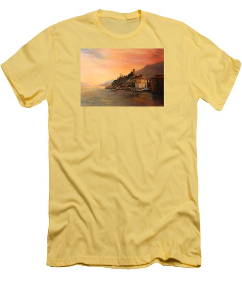Men's T-Shirt (Slim Fit) featuring the painting Malcesine Lake Garda Italy by Jean Walker