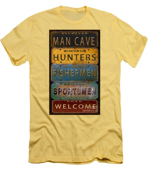 Man Cave-license Plate Art Men's T-Shirt (Slim Fit) by Jean Plout