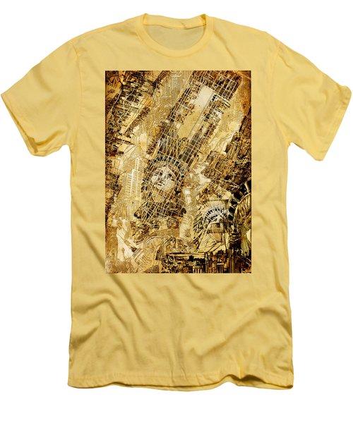 Manhattan Map Antique Men's T-Shirt (Slim Fit)