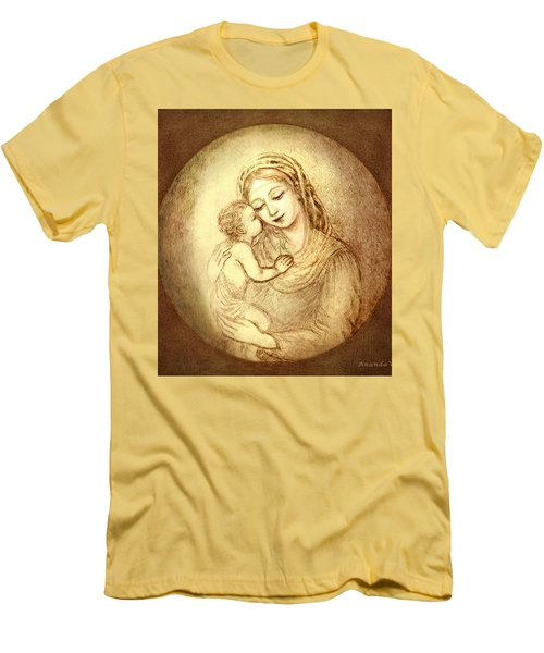 Mary And Jesus Men's T-Shirt (Slim Fit) by Ananda Vdovic