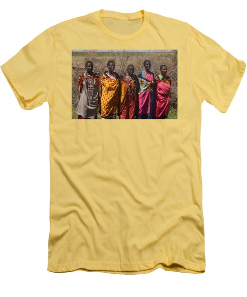 Men's T-Shirt (Slim Fit) featuring the photograph Masai Women Chorus by Tom Wurl