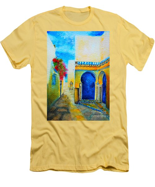 Men's T-Shirt (Slim Fit) featuring the painting Mediterranean Medina by Ana Maria Edulescu