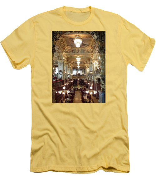 Meet Me For Coffee - New York Cafe - Budapest Men's T-Shirt (Slim Fit) by Lucinda Walter