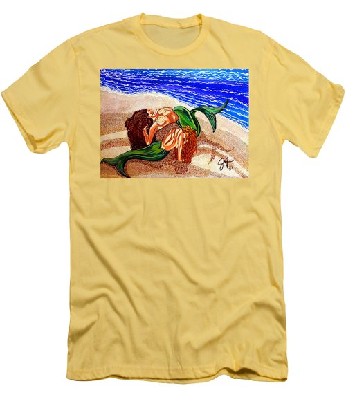 Men's T-Shirt (Slim Fit) featuring the painting Mermaids Spent Jackie Carpenter by Jackie Carpenter