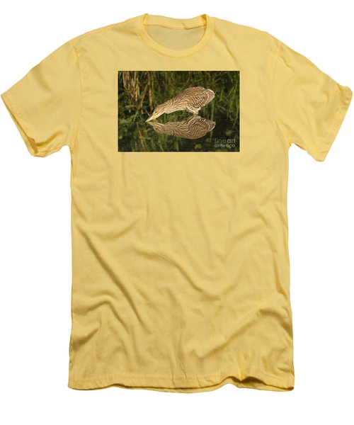 Men's T-Shirt (Slim Fit) featuring the photograph Mirror Mirror On The Wall Who Is The Fairest Heron Of All by Heather King