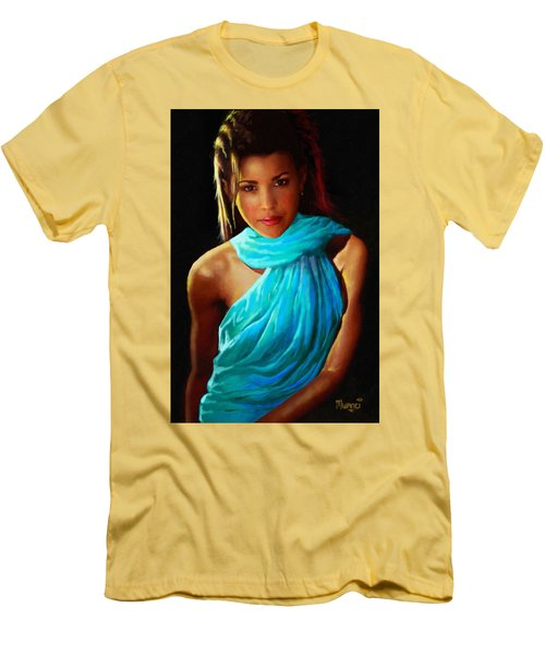 Men's T-Shirt (Slim Fit) featuring the painting Well Fed Model by Anthony Mwangi