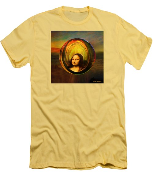 Men's T-Shirt (Slim Fit) featuring the painting Mona Lisa Circondata by Robin Moline