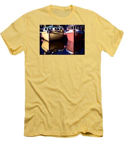Moored Fishing Boats Men's T-Shirt (Slim Fit) by Richard Farrington